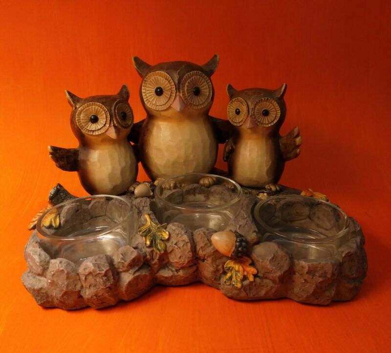Yankee Candle Triple Owl Tea Light Candle Holder