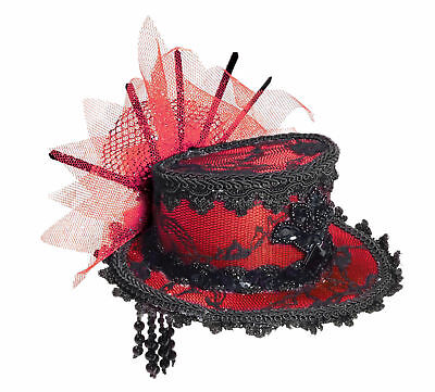 Victorian Red Black Mini Cocktail Top Hat Lace Fascinator Costume Burlesque New (Mini Red Top Hat)