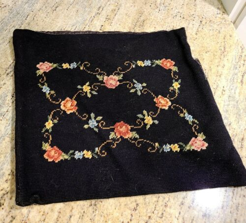 """Vintage Wool Needlepoint Black Square Pillow Cover Flowers Floral App 15"""" X 16"""""""