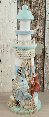 Deko Holz Leuchtturm mit Fisch & Seesternen 30x10cm maritime Dekoration