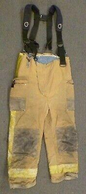 38x29 Janesville Tan Firefighter Pants W Suspenders Turnout Fire Gear P082