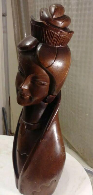 """Vintage Art Deco Style 16"""" Wooden Bust Sculpture Regal Asian Woman Thai?"""