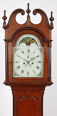 John Scudder Westfield NJ Inlaid Cherry Tall Case Clock C. 1800 Eight Day