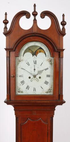 John Scudder Westfield NJ Inlaid Cherry Tall Case Clock C. 1800 Eight Day