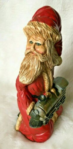 "VTG Lefever 7"" Figurine Santa holding TRAIN  - signed  FOLK ART SINTERKLAAS"