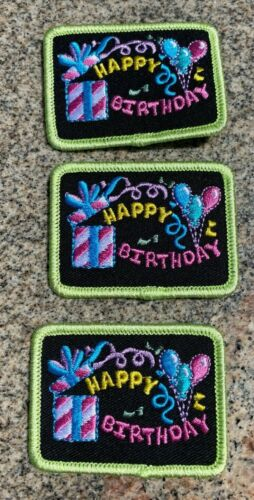 """LOT OF 3 GIRL SCOUTS """"HAPPY BIRTHDAY"""" PATCHES NOS & UNUSED"""