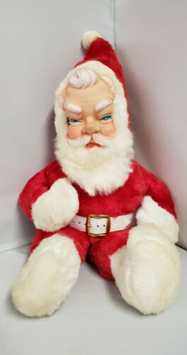 "Vintage Santa Claus Christmas Stuffed Plush Doll 17.5"" Rubber Face Toy Blue Eyes"