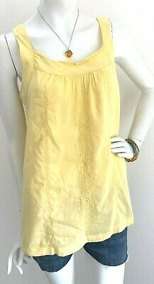Baby Doll Tunic Tank - Sonoma Top embroidered Baby doll Tunic a-line Tank yellow cotton Boho Small VGUC
