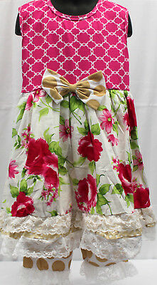 NWT Girls size 5 ADORABLE 2 Piece RUFFLED Pull on Pants & Flower Top Outfit 5