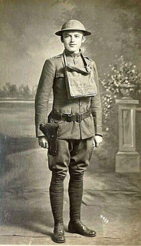 ORIGINAL WW1 US ARMY ENG Lt.- HELMET GAS MASK 45 PHOTO POSTCARD RPPC ID