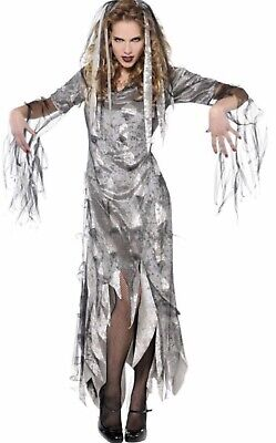 Graveyard Zombie Costume (New Graveyard Zombie Womens Halloween Costume Adult Medium 6-8 Dress Hair)