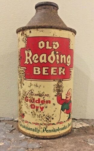 "OLD READING BEER ""GOLDEN DRY"" CONE TOP BEER CAN RARE GUS VINTAGE ANTIQUE BEER"