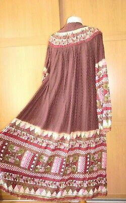 vintage Mayur Indian block print dress prairie style midi M 12 14 multi Boho 70s