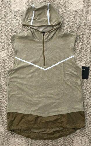 Nike Mens 1/2 Zip Sleeveless Running Hoodie Top Brown Size Large AR9819-284