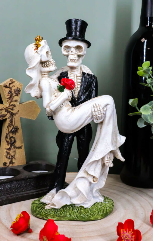 Love Never Dies Day of The Dead Skeleton Groom Carrying Bride With Rose Figurine