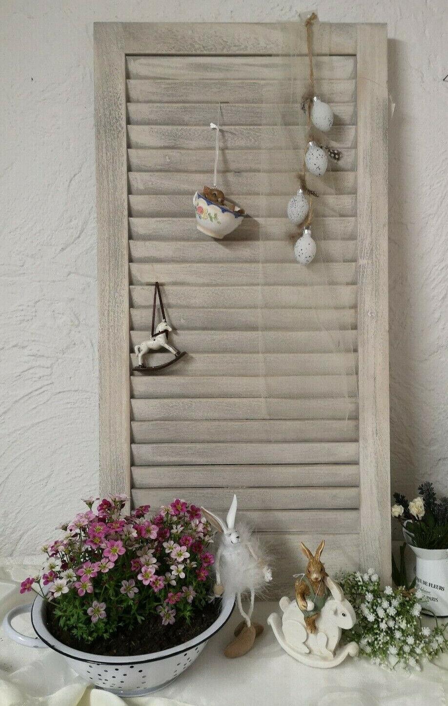 Fensterladen *Holz Grau weiß Gartendeko Küche Shabby Chic Deko 43x 83cm Vintage