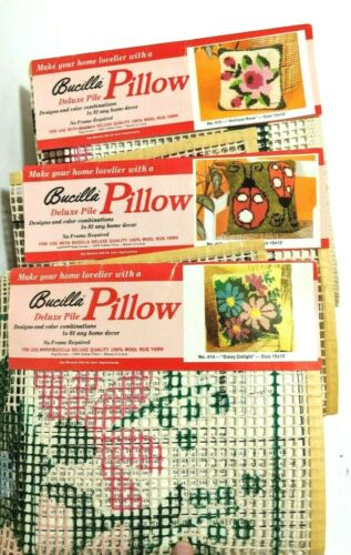 Bucilla Hook Rug Pillow Canvas Lot Latch Patterns Ladybug Floral Vintage New