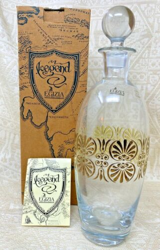 Vintage Egizia Lord of the Rings Mordor Gold Trimmed Blown Glass Decanter