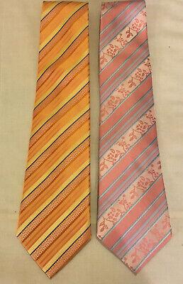 Mens 2 Pieces Peach Tangerine Striped Umo Lorenzo Hand Made Ties Neckties Italy