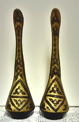 ANTIQUE HAND MADE, ENAMELLED, ETCHED, UNUSUAL INDIAN METAL ELEGANT EWERS / VASES