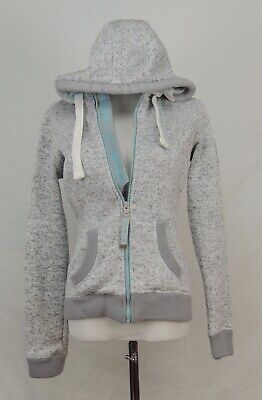 Superdry Mountain Sport Fugi Hoodie Storm Full Zip Hood Gray Teal Athletic S EUC