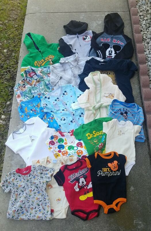 Baby Boy Clothes Lot Of 19 Pieces Sizes Range Fro.m  Newborn  - S(6-8 ) Used