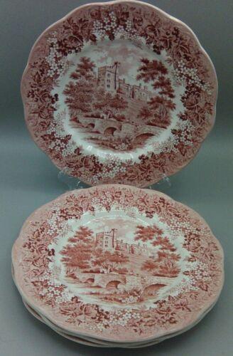 "Vintage J&K Meakin Pink Romantic England Dinner Plates (4)  10"" wide Haddon Hall"