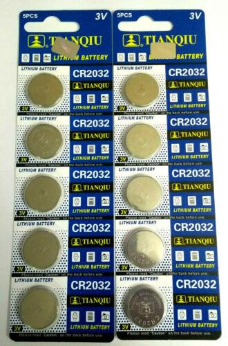10 Pcs CR2032 3v Coin Cell Lithium Batteries 220mAh
