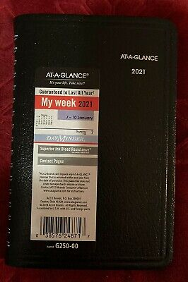 2021 At-a-glance Weekly Appointment Book Dayminder Black 3.5 X 6