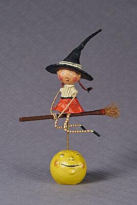 Lori Mitchell™ - Becca's Broom Ride - Halloween Witch Girl Broom Figurine - Halloween Figurines Collectibles