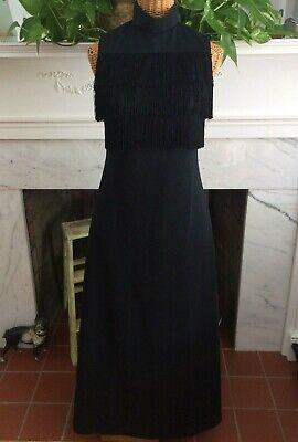 Vintage 60's 70's Black And Print Fringe Maxi Dress Mod Boho Hostess S](60 And 70 Clothes)