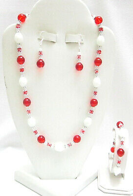 4 PIECE HANDCRAFTED-WHITE & RED MILLEFIORI BEAD JEWELRY SET-NEW-REALLY NICE