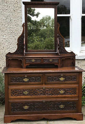Very Large Carved Mahogany Dress Table Drawers Mirror Top Exceptional Quality