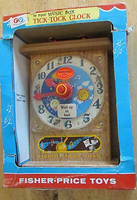 Fisher-Price Toys 1955 Original Music Box Tick-Tock Clock in Package