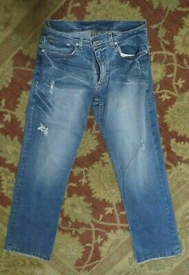 Armani Exchange AX Men Distressed Thrashed Blue Jeans 32 Short USA Made