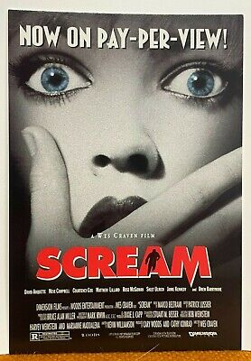 """1996 SCREAM MOVIE Promo 4x6"""" Postcard Pay-Per-View Ad Drew Barrymore Wes Craven"""