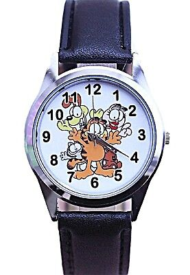 Garfield & Friends Black Leather Band Wrist Watch