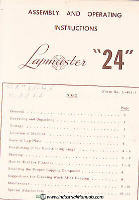 Lapmaster 24 Lapping Machine Assembly And Operations Manual