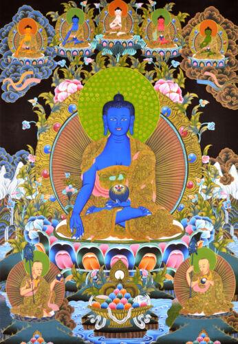 "BLESSED 26"" TIBETAN THANGKA PAINTING POSTER: MEDICINE BUDDHA & FIVE BUDDHA"