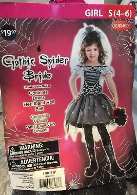 Brand New Goth Spider Bride Child Halloween Costume Size Small - Halloween Spider Bride