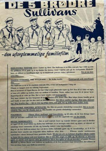 The Sullivans Anne Baxter Thomas Mitchell 1944 Vtg Danish Movie Press Release