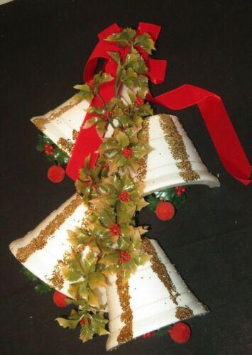 Vintage Christmas Door Wreath Wall Hanging Bells Sears Styrofoam Kitschy (D417)