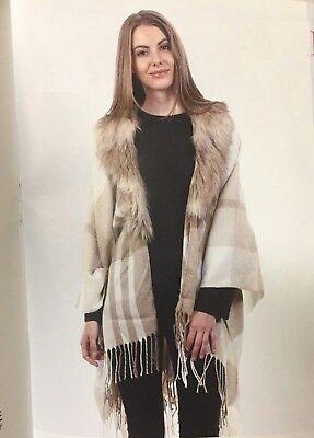 New Women Plaid Shawl with faux fur trim and fringe Beige Soft Cape Outwear (Faux Fur Cape)