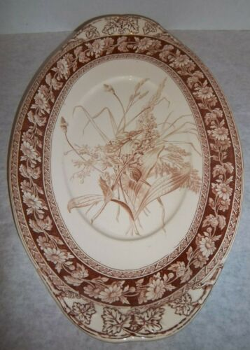 "COPELAND Transferware 15.5"" SERVING PLATTER 19th century BROWN Daisy Chain"