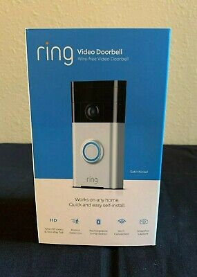**BRAND NEW SEALED** Ring Wi-Fi Enabled Video Doorbell in Satin Nickel w/ Alexa
