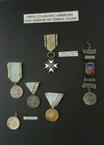 ORDER of THREE STARS Medal on Storyboard Tris Zvaigsnu Ordenis Latvia 1924-40