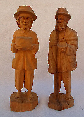 PAIR OF 2 OLD VINTAGE HAND CARVED WOOD FIGURINE FIGURES MAN CARRYING BOWL