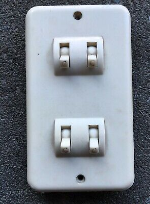 Vintage Crabtree Light Switch Plate 4 gang Toggle style Off White Mid Modern 2w