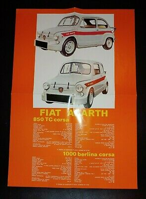 Original FIAT ABARTH CORSA SS Spec Sheet Poster in Italian Vintage Brilliant