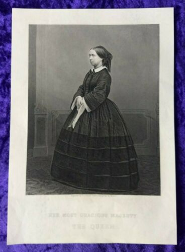 Large Victorian Engraving of a young Queen Victoria Circa. 1850